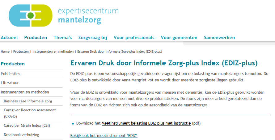 expertisecentrum mantelzorg screenshot